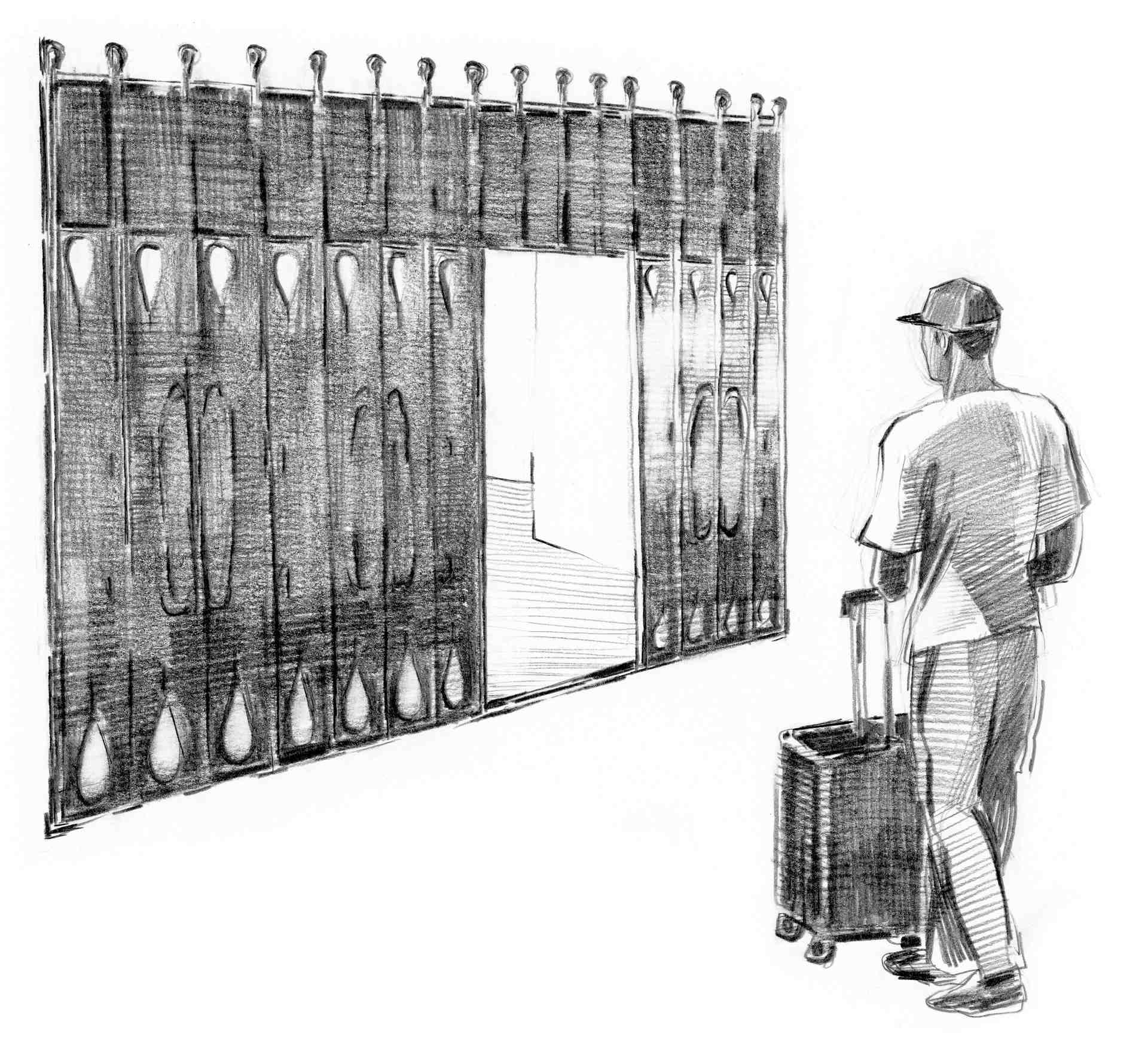 Illustrasjon av Omar utenfor koranskolen. Omar står med kofferten sin utenfor en port.