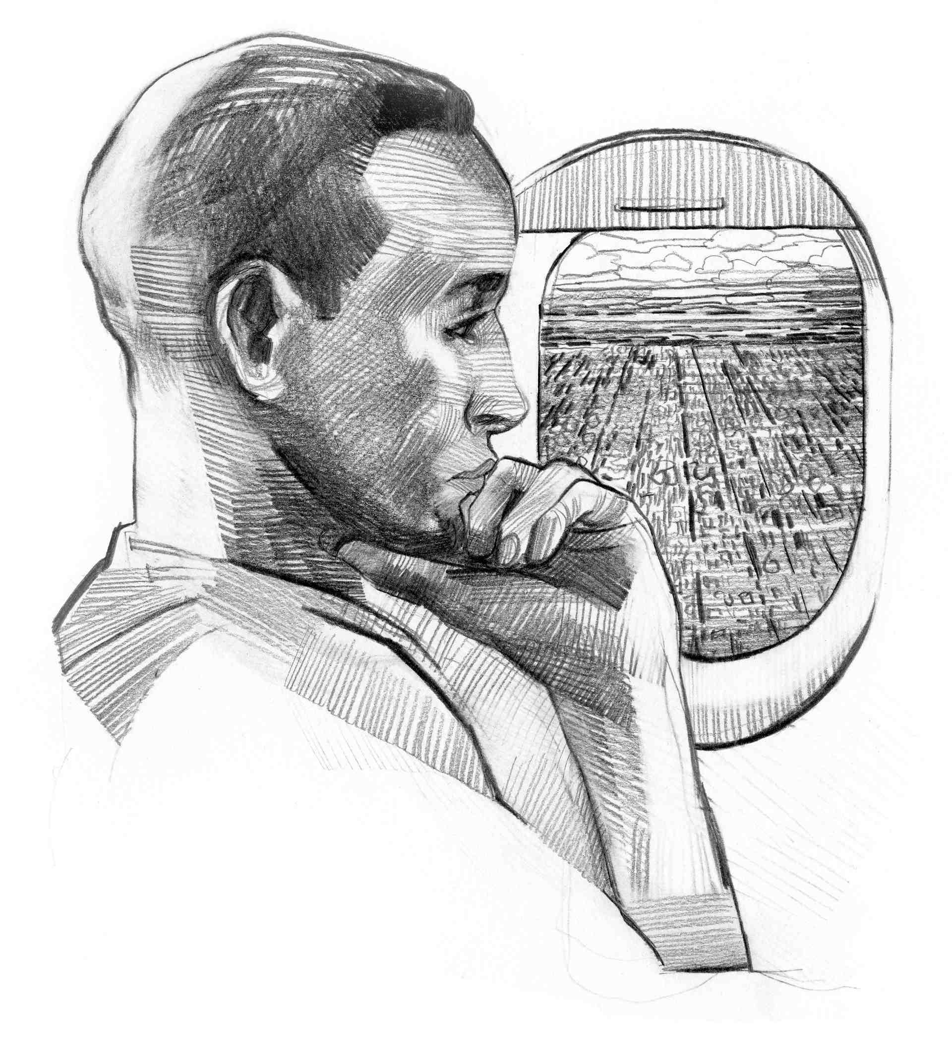 Illustrasjon av Omar på flyet. Omar sitter tankefull med hånden på haken, ved siden av et flyvindu med utsikt over en storby.