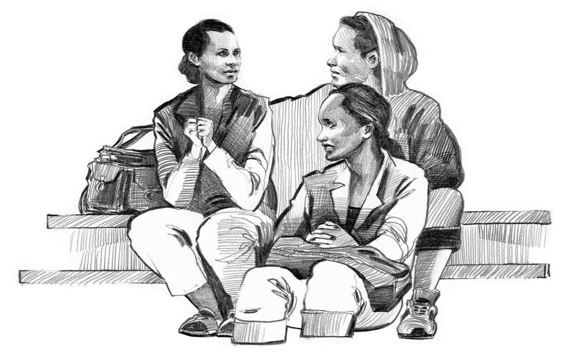 Illustrasjon av Noor og vennegjengen.