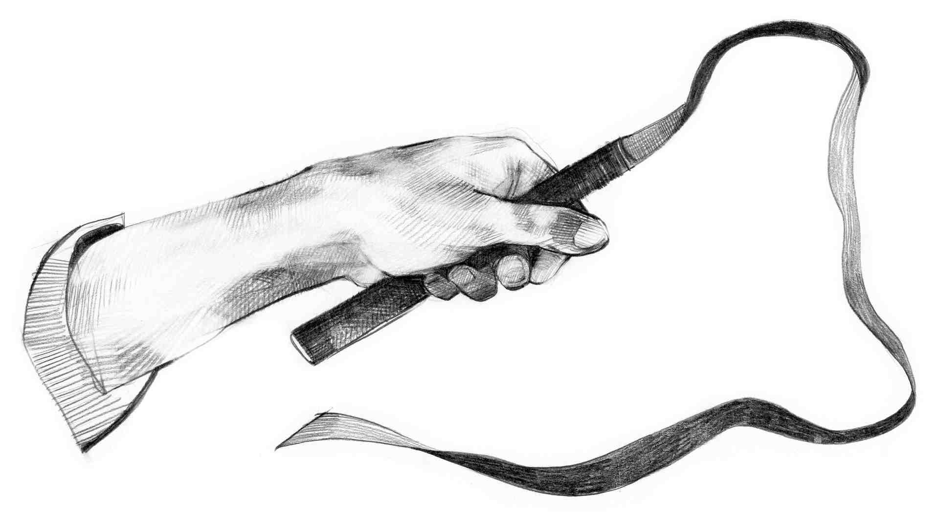 Illustrasjon av en hånd som holder en pisk